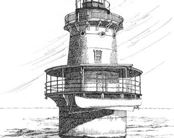 Newport News Middle Ground Lighthouse - print