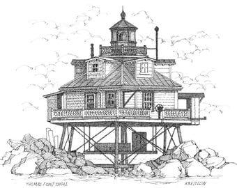 Thomas Point Shoal Lighthouse - print