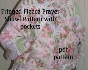 Fringed Fleece Prayer Shawl with Pockets pdf Sewing Pattern