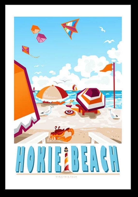 Hokie Beach in blue
