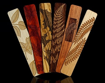 Leaves and Ferns Solid Wood Bookmark Set of 6