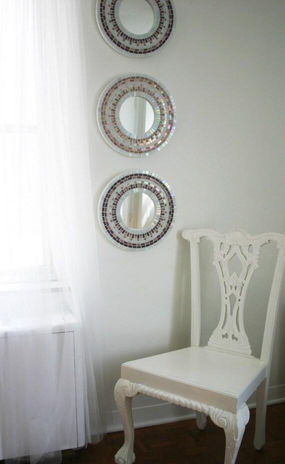 SALE -- Amethyst Trio - Set of three mosaic wall mirrors