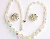 Swarovski AB Crystal Necklace Earrings Set Vintage Bridal Set Aurora Borealis Rainbow Sparkle