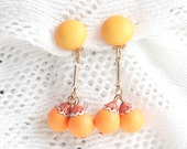 Orange Dangle Earrings Vintage 1960s Fantastic Orange Bead Balls Tube Drops Clip On