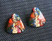 Abstract Triangle Earrings Vintage Metal Enamel Multicolor 1970s Swirls