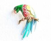 Multicolor Parrot Figural Brooch Pin Vintage Bright Enamel Mothers Day