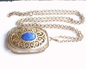 Vintage Filigree Locket Pendant Necklace with Lapis Blue Cabochon Avon Signed