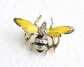Vintage Bee Figural Brooch Pin Bumblebee Cute Black Yellow Enamel signed Gerry
