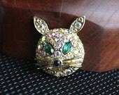 Rhinestone Cat Head Brooch Vintage Designer Figural Pin Aurora Borealis
