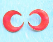 Melon Orange Half Moon Earrings Pierced Vintage 1980s Neon OrangeEnamel Half Moons
