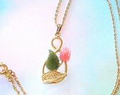1960s Pendant Necklace Vintage Carved Jade & Coral Floral Design Pink Green Chain Delicate