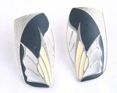Vintage 1980s Enamel Earrings Pierced Posts Abstract Black White Silver Openwork New Wave