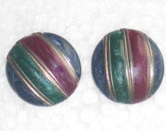 Striped Button Earrings Pierced Vintage 1980s Retro Round Blue Burgundy Green