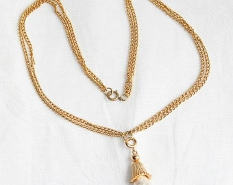 Vintage Baroque Pearl Teardrop Necklace Goldtone Sarah Coventry Jewelry Fashion Parade Pendant Necklace