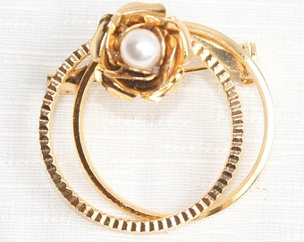 Pearl Double Circle Brooch Vintage Pin Gold Delicate Rose Petals