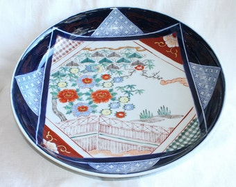 Vintage Blue Arita Ware Japanese Bowl Huge Porcelain Bowl Serving Dish Noodles Sushi Plate Wide Blue Orange White