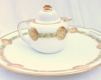 1918 Serving Plate Creamer Reinhold Schlegelmilch Tillowitz Porcelain China Germany RS Vintage Antique