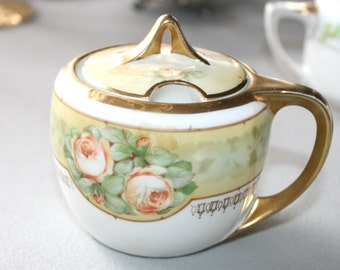 1920s Reinhold Schlegelmilch Tillowitz Sugar Bowl and Lid 1920s  Vintage Porcelain China Germany RS