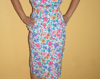 80's Floral Dress Vintage 2 pc Jonathan Martin Peplum Shoulder Pads Size 5 / 6