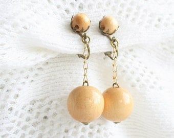 Wood Ball Dangle Earrings Vintage Chain Drops Western Germany 1960's Retro Clip On