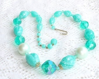 Aqua Blue Bead Necklace Vintage AB Coated Faux Pearl Crystal Beads Germany Signed