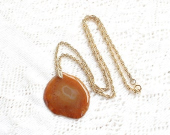 Vintage Agate Slice Pendant Necklace LargeCarnelian Big Flat Slice in Topaz Amber Orange