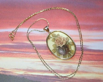 Roses Oval Necklace Vintage Floral Framed Flowers Pendant Domed Red Yellow on Chain
