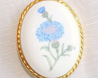 Blue Flowers Bone China Brooch Vintage Aynsley Hand Painted Floral Pin England Blue
