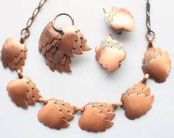 Copper Leaf Necklace Earrings Brooch Set 1960s Vintage Parure Retro Marked Down