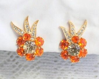Orange Eisenberg Rhinestone Earrings Vintage Clip On Flower Earrings Smokey Topaz Gold Plated