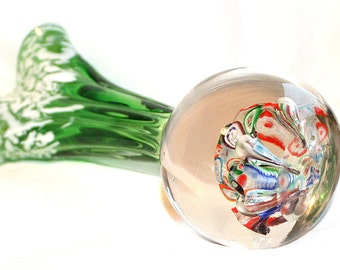 Green Paperweight Vase Millefiori Vintage White Frit Emerald Green Multicolor Retro Abstract
