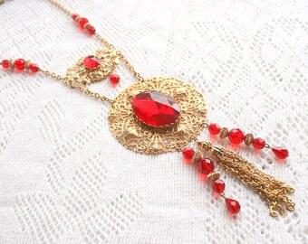 Red Art Deco Sautoir Necklace Vintage Huge Runway Pendant Ruby Crystals Large Filigree Dangles