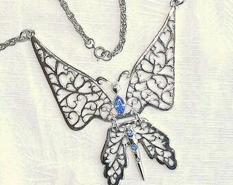 Butterfly Bib Necklace Vintage Large Silvertone Filigree Blue Rhinestone Book Piece Statement