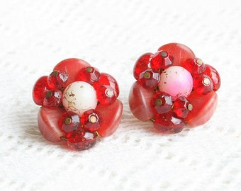 Red Glass Flower Earrings Vintage Art Glass Ruby Crystals Button West Germany