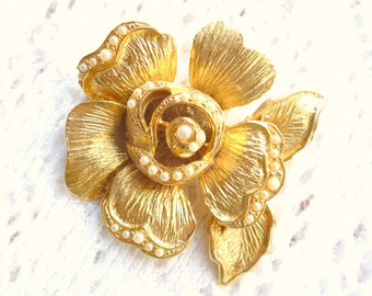 Flower Brooch Vintage Textured Gold Camellia Pin Tiny Pearls Wedding Bride Signed Craft