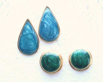 80s Blue Green Earrings Lot Vintage Pierced Enamel Retro TWO Pair Swirled Blue Teardrops Green Circles New Wave