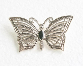 Silver Butterfly Brooch Vintage Figural Pin Black Glass Cabochon