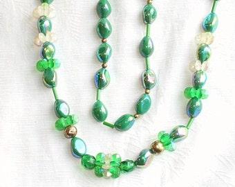 Bright Green Beads Necklace Vintage Beaded Iridescent AB Pinwheels Ceramic Crystal