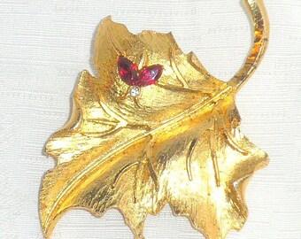 Ruby Bee on Leaf Brooch Vintage Goldtone Leaf and Bug Ruby Red Rhinestone Wings Signed MAMSELLE