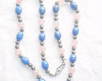 Rose Quartz Blue Ceramic Necklace Vintage Beads with Grooved Silver Beads