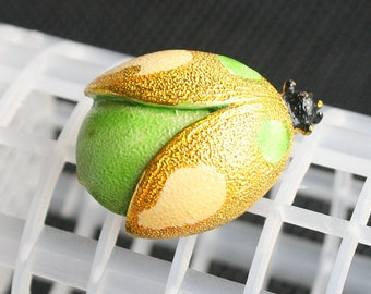Big Green Bug Brooch Vintage Ladybug Neon Green Yellow Bright Colors Lady Bug Figural Pin