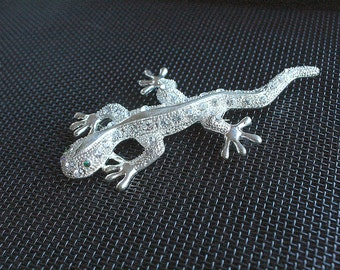 Silver Lizard Brooch Large Vintage Silver Rhinestone Accents Lizard Salamander Gecko Figural Pin 4 Inches Long