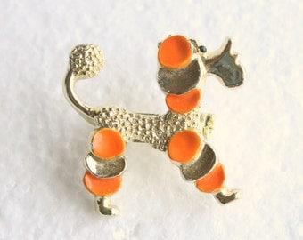 Poodle Dog Brooch Orange Vintage Gerrys Figural Pin Goldtone Orange Enamel