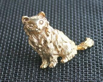 Persian Cat Brooch Vintage Kitty Figural Pin Long Haired Persian Himalayan