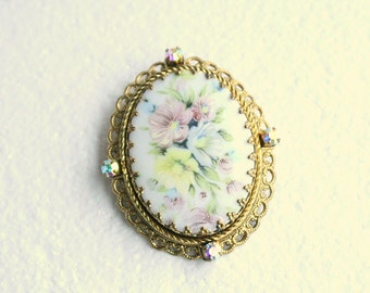 West Germany Floral Brooch Pin Goldtone Filigree Flower Transfer Enamel Rhinestones Stunning
