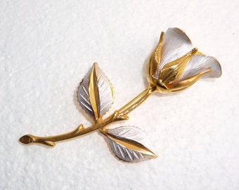 Silver Gold Rose Brooch Vintage Long Stemmed Rose Flower Pin Textured