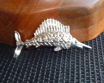 Marlin Fish Brooch Vintage Figural Silver Pin Sea Swordfish Sailfish Ocean Gerrys