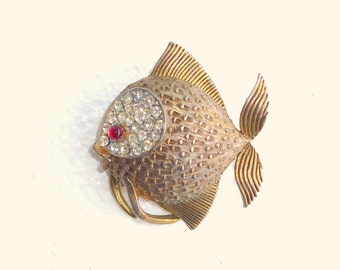 Vintage Fish Pin Rhinestones Signed JJ Brooch Antiqued Bronze Tropical Angel Puffer Fish Figural Pin