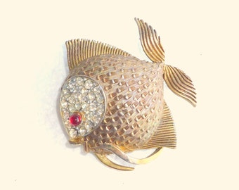 Fat Fish Brooch Vintage Antiqued Bronze Rhinestones Tropical Angel Puffer Fish Figural Pin