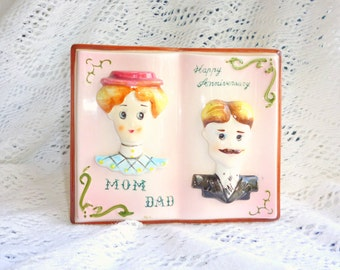 Ceramic Planter Vase Old Time Pictures Vintage Man Lady Head Mom Dad Anniversary Pink White